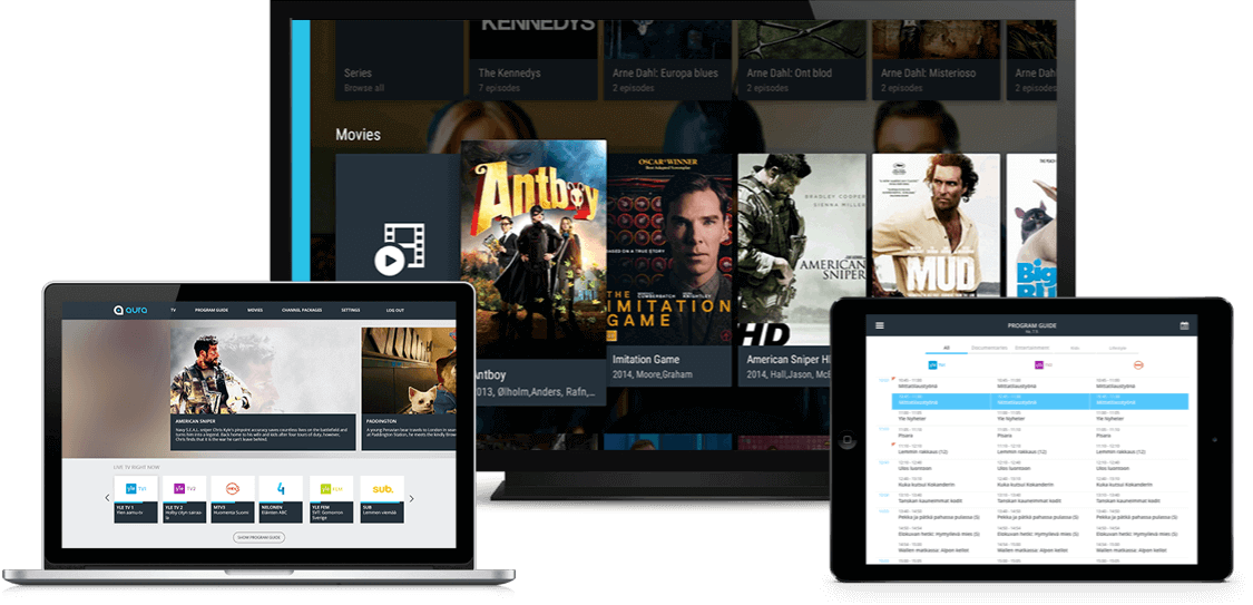 Iptv middleware customizable app suit showing on multiple devices and platforms