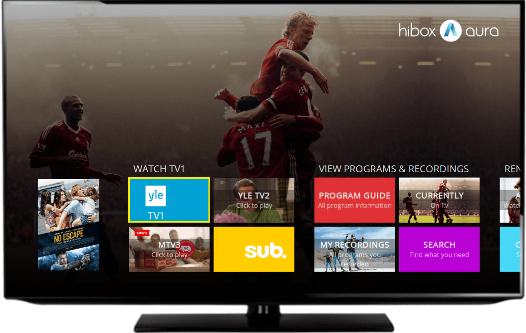 The IPTV software Hibox Aura's user interface displayed on smart TV