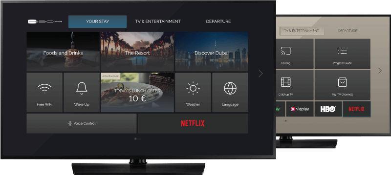 Two TVs displaying hotel TV user interface with built-in Netflix app.