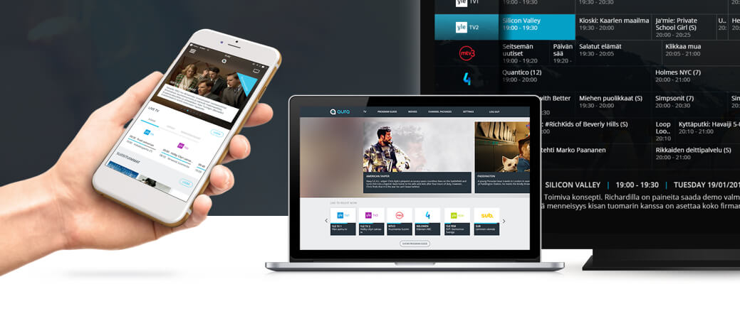 Multiple devices showing the multiscreen nature of Hibox Aura IPTV platform