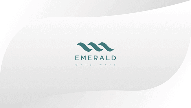 Emerald logo displayed on hospitality TV