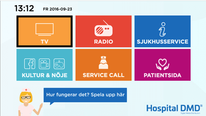 Karolinska Hospitality TV user interface powered by Hibox Smartroom displayed on TV