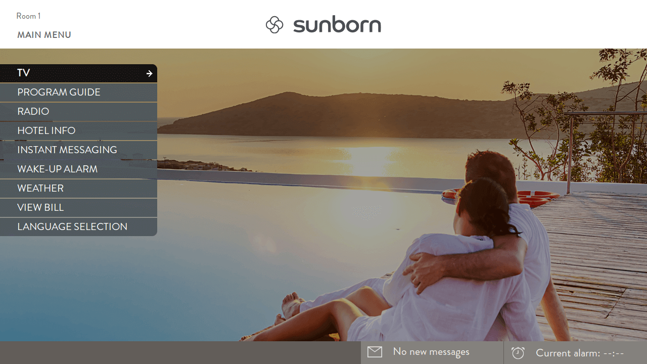 Sunborn Hotel TV user interface powered by Hibox Smartroom displayed on TV
