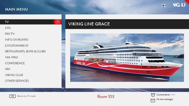 Viking Line Hospitality TV user interface powered by Hibox Smartroom displayed on TV