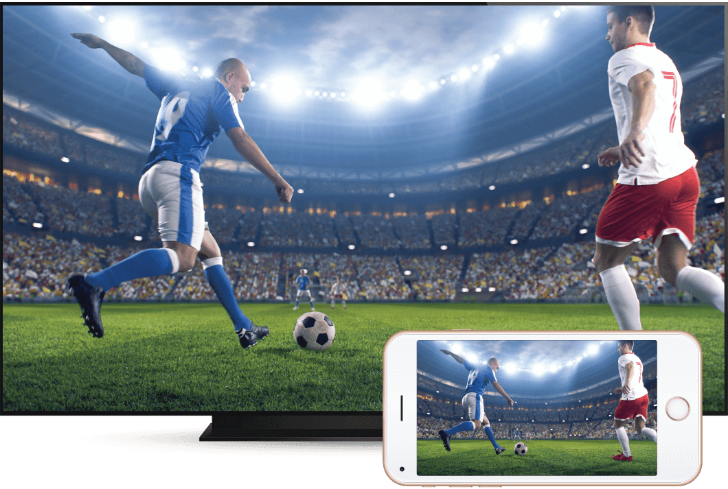 Football game screen shared from smart phone to hospitality tv